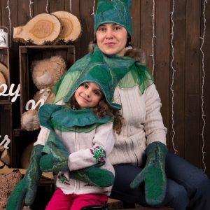 женский комплект из войлока эльф: шапка, варежки и шарфик